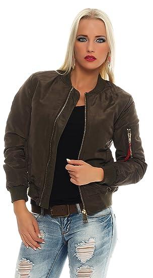AE Damen Bomberjacke Flieger Pilotenjacke Biker Übergangsjacke Jacke Jacket Gr. SML
