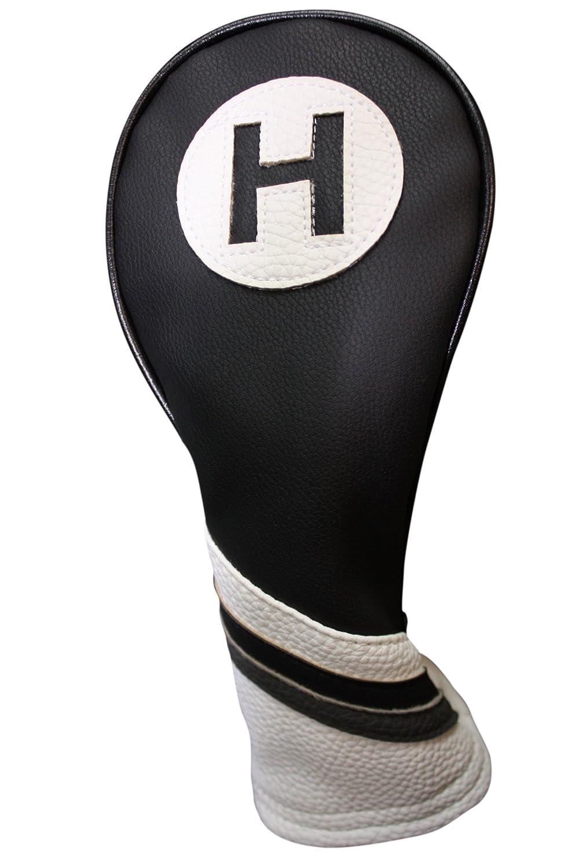 ゴルフヘッドカバーブラックとホワイトヴィンテージレザースタイル# 5ハイブリッドヘッドカバーFits Mostハイブリッドクラブ   B01BL0QXPS
