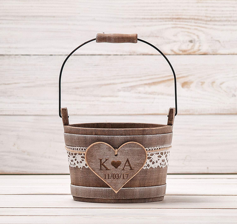 Rustic Flower Girl Basket, Wedding Bucket with Lace, Rustic Style Driftwood Flower Girl Basket, Woodland Wedding Ceremony, Shabby Chic Bridal Gift