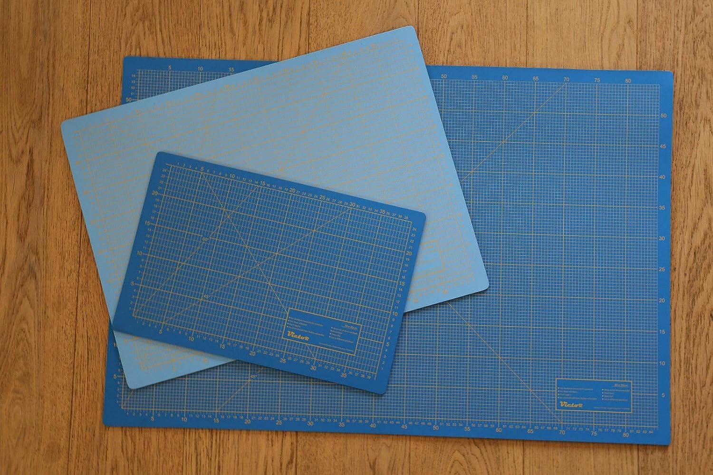 Schneidematte 3-lagig und selbstheilend hellblau dunkelblau 90x120cm XL