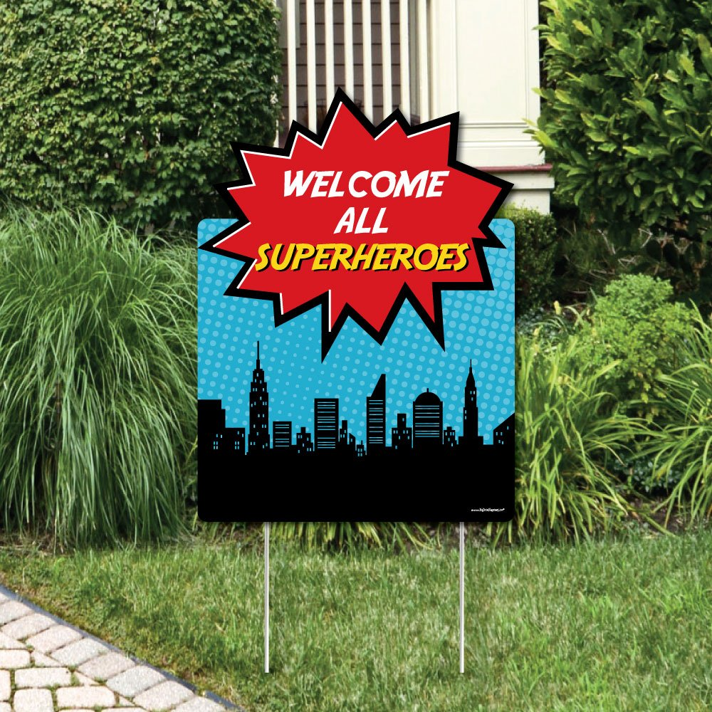 Big Dot of Happiness BAM! Superhero - Party Decorations - Birthday Party or Baby Shower Welcome Yard Sign