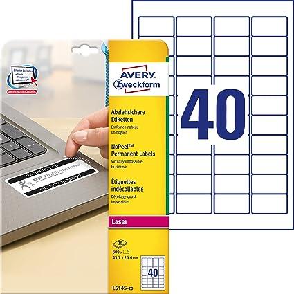 Avery España L6145-20 - Pack de 20 folios de etiquetas no ...
