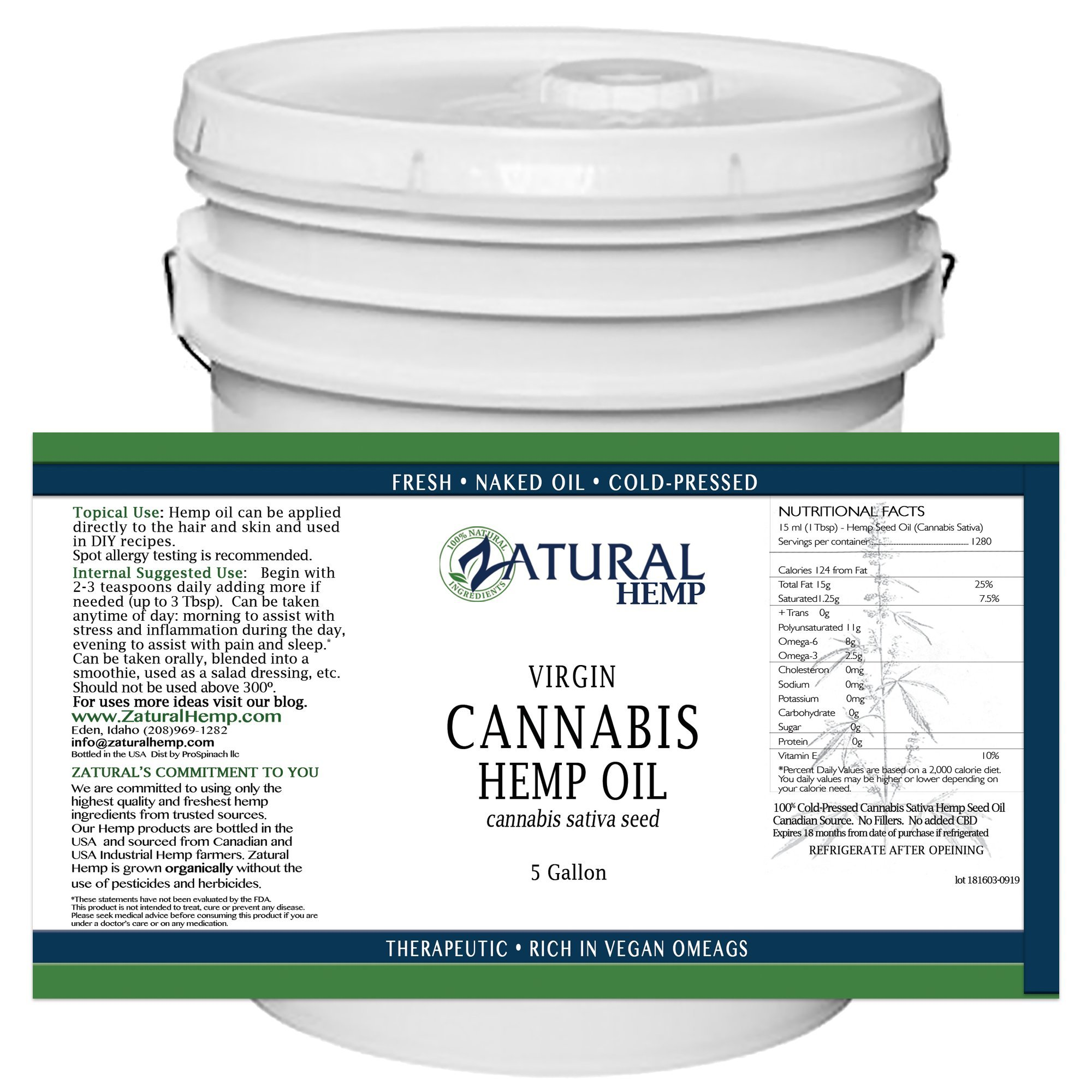 Hemp Oil Anti-Inflammatory_Pain Relief_100% Pure_Cold Pressed_High Vegan Omegas 3 & 6_No Fillers or Additives, Therapeutic Grade (16 Ounce) (16 Ounce) (640 Ounce (5 Gallon))