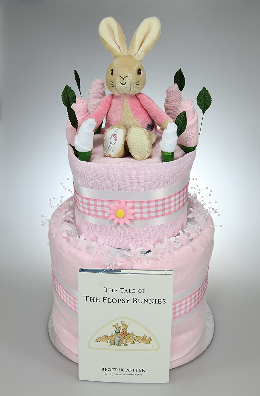 Wondrous Baby Girl Two Tier Nappy Cake With Flopsy Bunny Soft Toy Peter Funny Birthday Cards Online Elaedamsfinfo