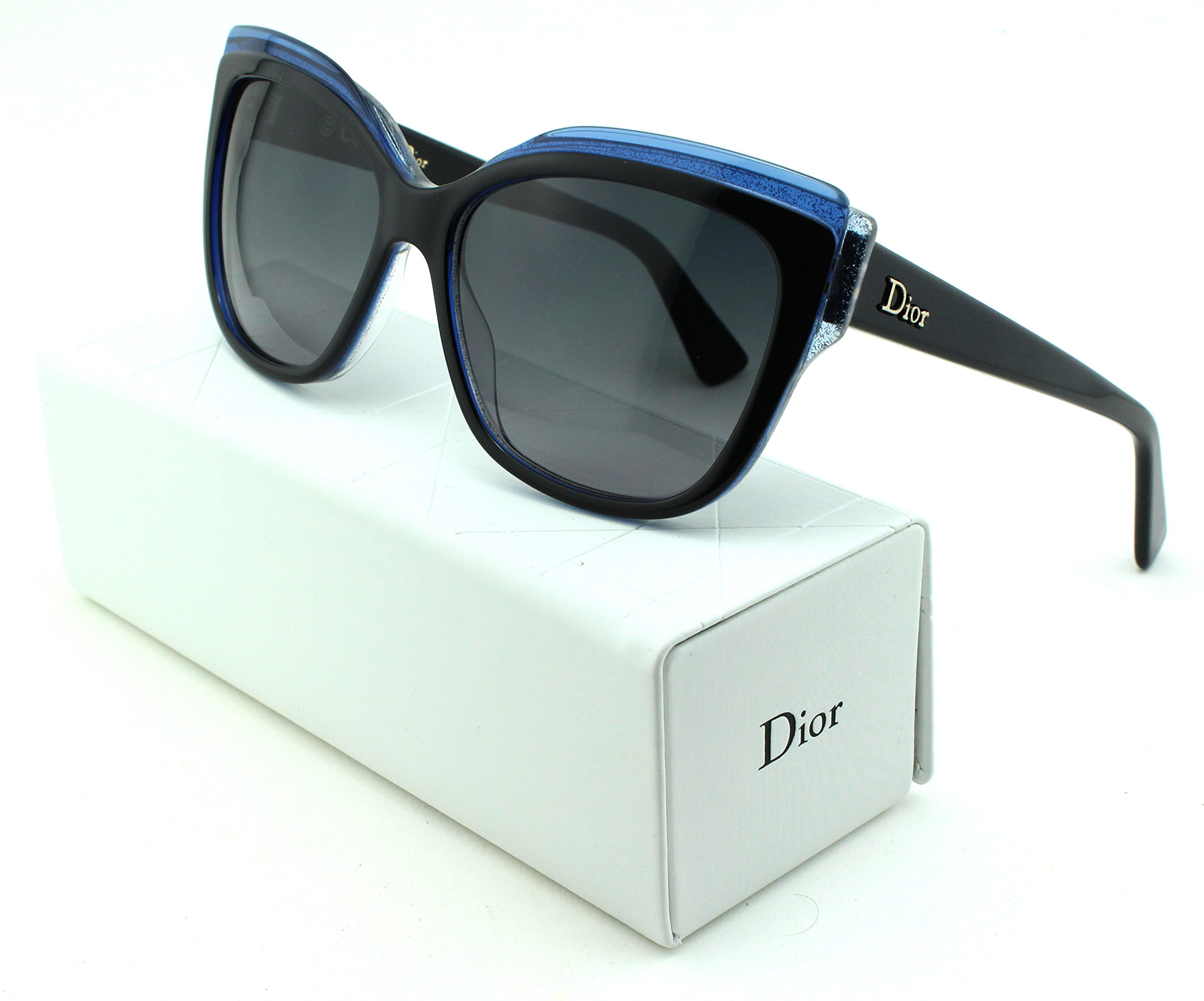 Dior Glisten 2 Cateye Women Sunglasses (Black Blue Frame, Grey Gradient Lens (0E1X))