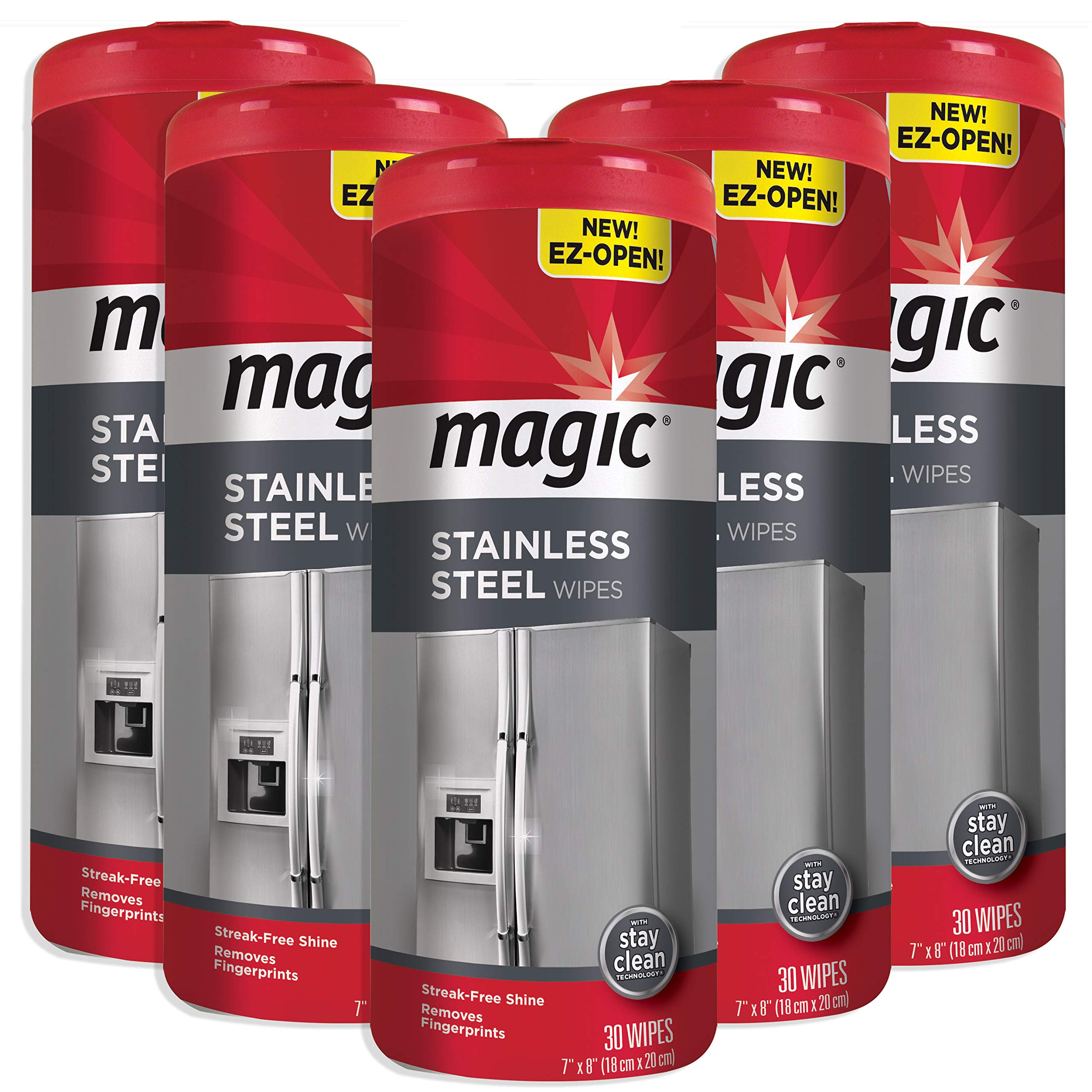 Magic Stainless Steel Wipes - Removes Fingerprints, Residue, Water Marks and Grease from Appliances - Works Great on Refrigerators, Dishwashers, Ovens - 30 Count by Magic