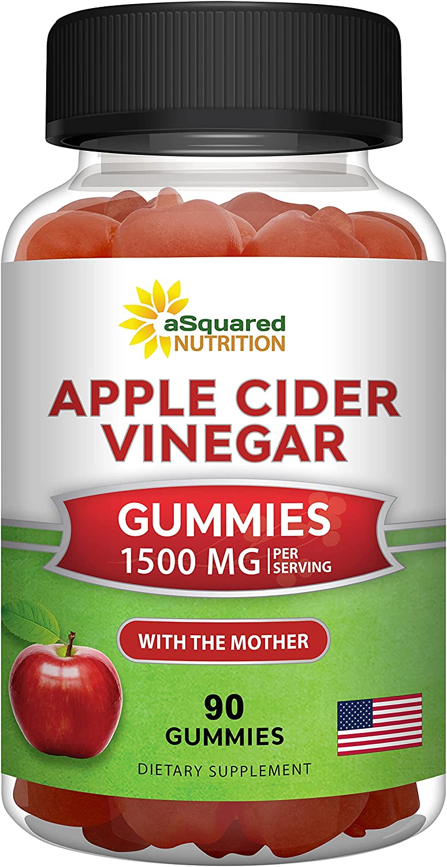 Apple Cider Vinegar Gummies - 1500mg with The Mother - 90 ACV Gummies w/ Vitamin B6 & B12, Folic Acid - Vegan Gummy Supplement Alternative to Capsules Pills & Drink