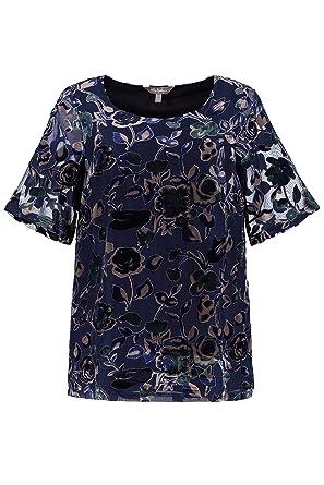 8cc401556c3 Ulla Popken Femme Grandes Tailles T-Shirt col Rond en Velours dévoré Bleu  Marine 44