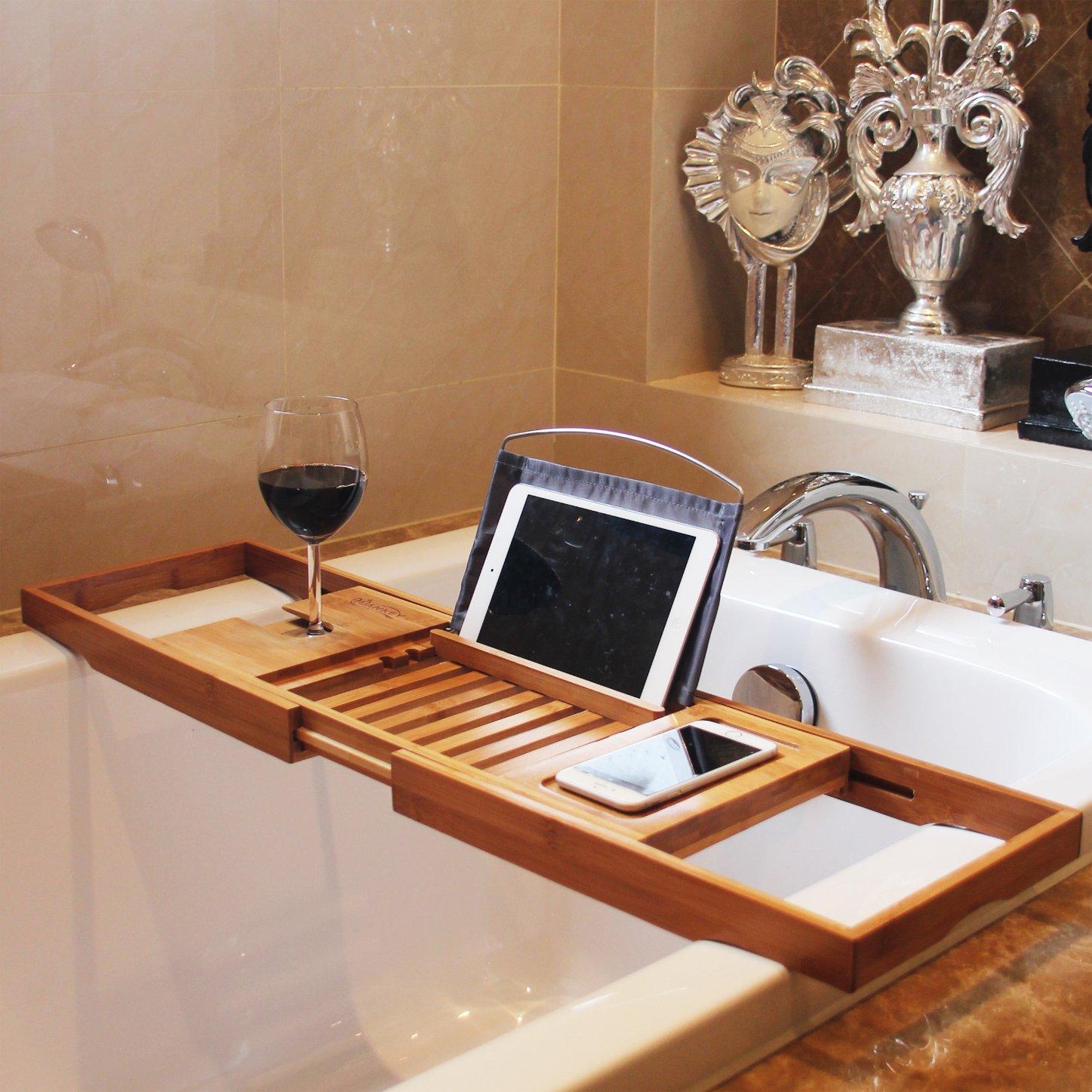 HANKEY Bamboo Bathtub Caddy Tray (Extendable) Luxury Spa Organizer ...