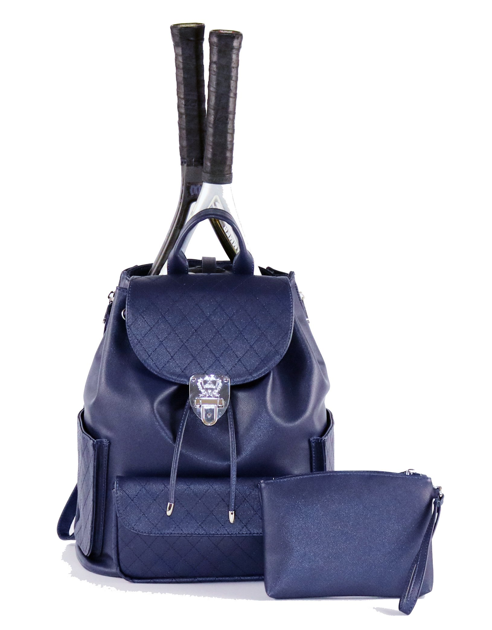 Court Couture Hampton Quilted Tennis Backpack - Navy