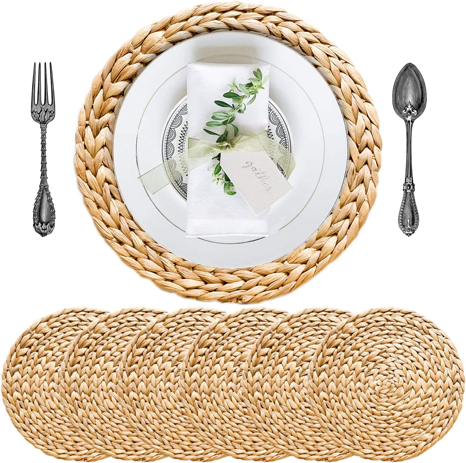 SOKFARM Round Placemats for Dining Table, Water Hyacinth Wicker Placemats, Placemats for Round Table, Woven Placemats, Seagrass Placemats, Table Mats, Diameter 11.8 Inches, Round Placemats Set of 6