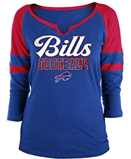 9c5bbadee New Era Buffalo Bills Ladies Slub Jersey 3 4 Sleeve Raglan Split Scoop T-