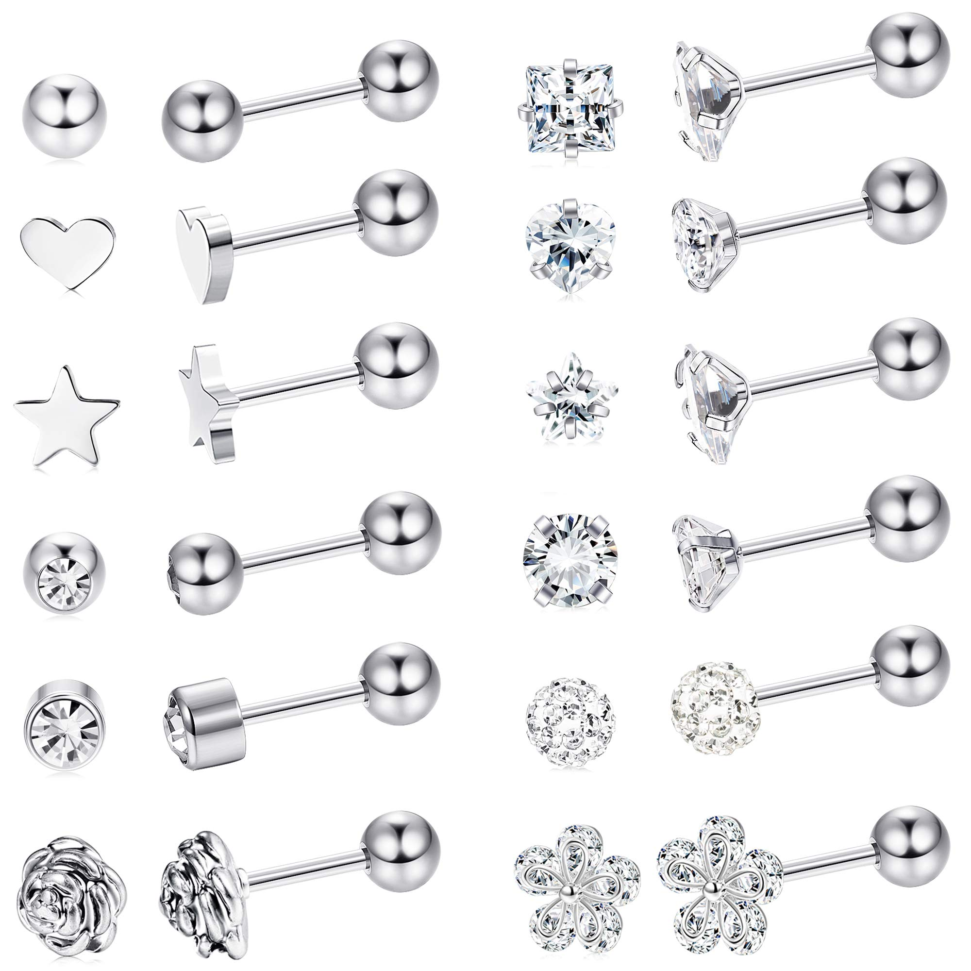 LOYALLOOK 8 Pairs Stainless Steel Ball Stud Earrings Barbell Cartilage Helix Ear Piercing 3-6mm 2 Colors (18G 12 Pairs Silver Tone 4mm) by LOYALLOOK