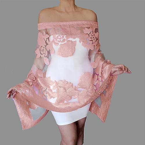 ccd2aec609 Amazon.com: Rose Gold Wedding Wrap Blush Evening Shawl Scarf By ZiiCi:  Handmade