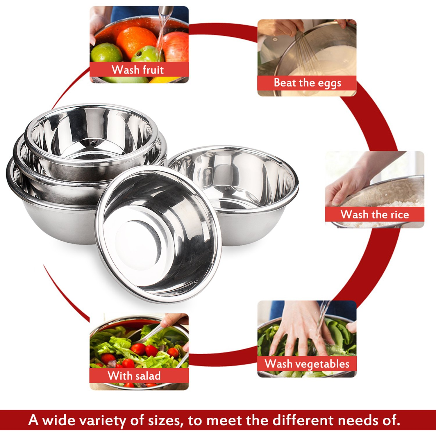 Mixing Baking Bowl Set, Stainless Steel, Solid and Durable, Mirror & Brushed Finish, Flat Bottom, Big Lip, Set of 5