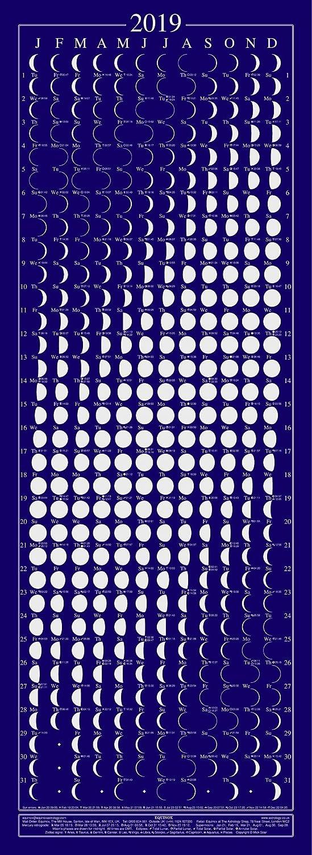 Calendario Lunar 2019 Espana.Equinox 2019 Calendario De Fase Lunar Con Pantalla De Seda Empaquetado Con Datos Lunares Y Solares Y Retrogrados De Mercurio