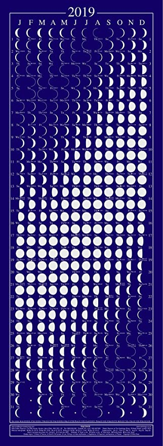 Moon Phases Calendar.Equinox 2019 Moon Phase Calendar Lunar Calendar Moon Calendar Beautifully Silk Screened