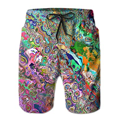 1a537615f3 Amazon.com: Psychedelic Trippy Art Men's Board Shorts Summer Casual Swim  Trunks with Pockets: Clothing