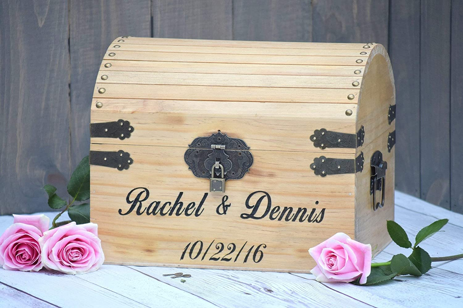 Rustic Wedding Card Chest Personalized Gift Wedding Card Holder Rustic Wedding Decor Personalized Card Box Lockable Engraved Wooden Card and Memory Chest