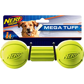 Amazon.com : Nerf Dog Barbell Chew Dog Toy, Large, Green