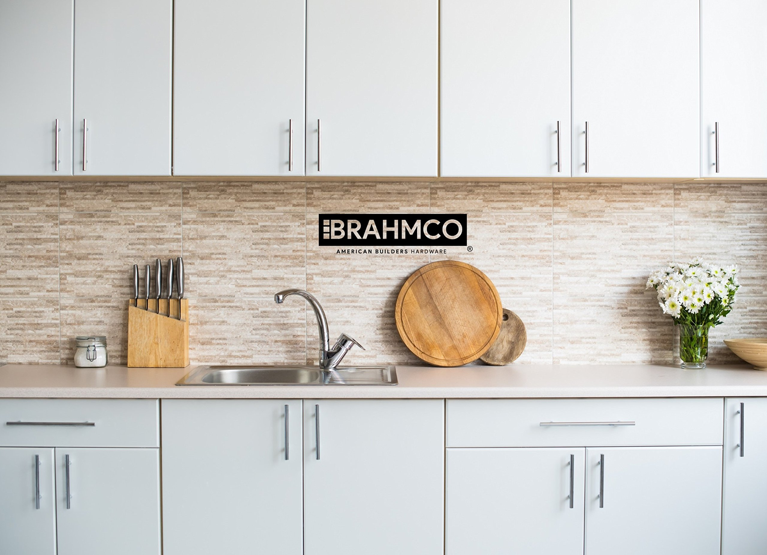 30 Pack | 5'' Stainless Steel T Bar Cabinet Pulls: 3 Inch Hole Spacing | Brahmco 180-5 | Modern Euro Style Brushed Satin Nickel Finish Kitchen Cabinet Handles Hardware/Drawer by Brahmco (Image #10)