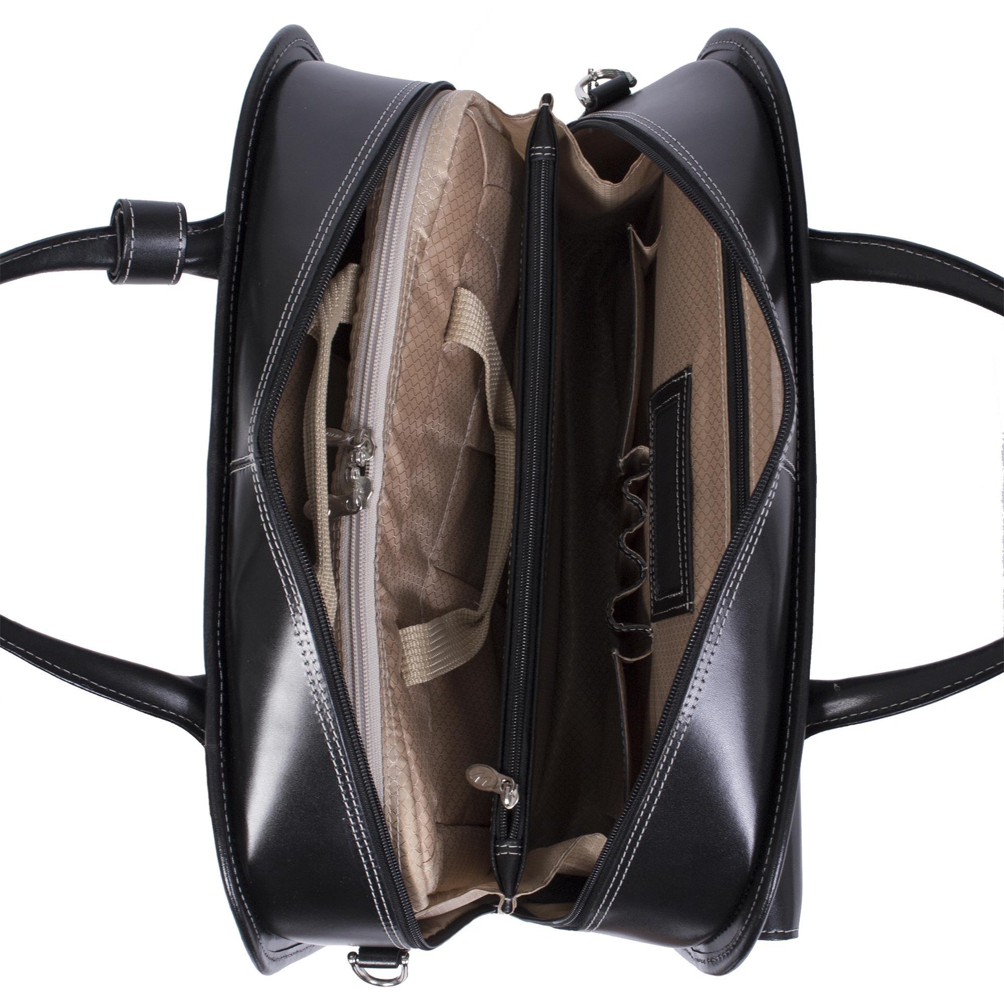 McKleinUSA LAKEWOOD 96615 Black Leather Fly-Through Checkpoint-Friendly Detachable-Wheeled Ladies' Briefcase by McKleinUSA (Image #5)