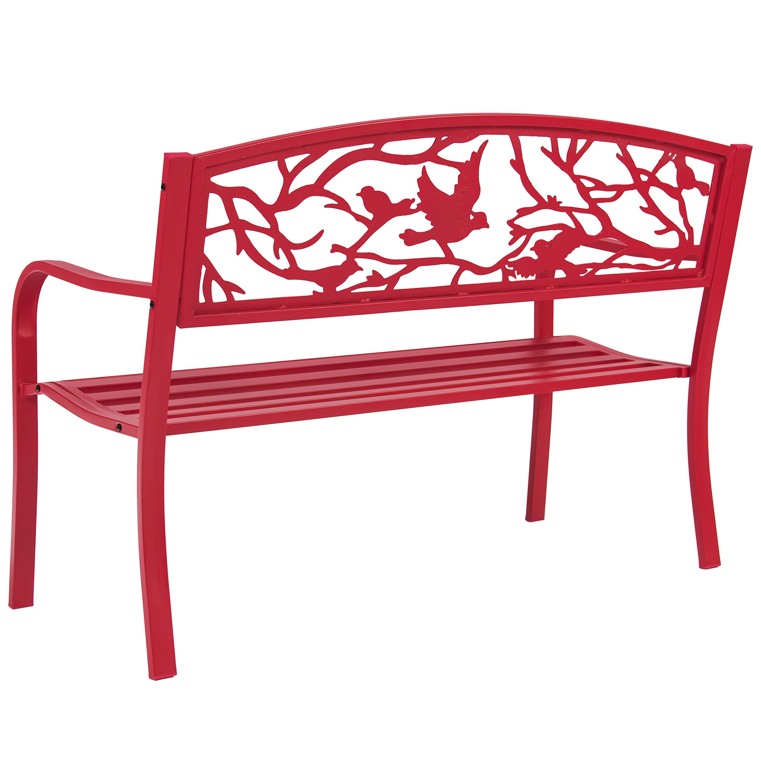 Best Choice Products Steel Park Bench Porch Furniture for Outdoor, Garden, Patio - Red by Best Choice Products (Image #3)
