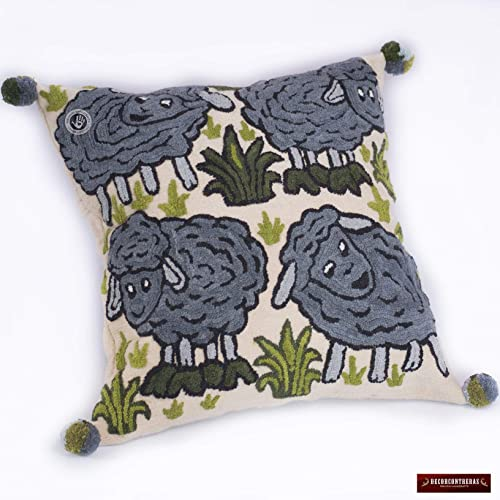 Amazon Embroidered Pillow Covers 40x40 From Peru Sheep Design Delectable Peruvian Decorative Pillows