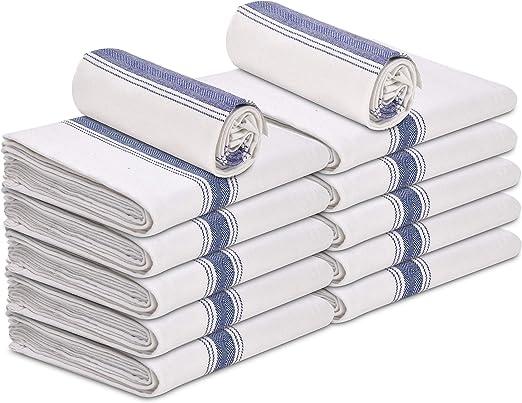 "Talvania Kitchen Dish Towels - 100% Cotton Flour Sack Dish Towels with Blue  Herringbone Stripe, Pack of 12, 15"" x 25"" The Perfect Classic White Dish ..."