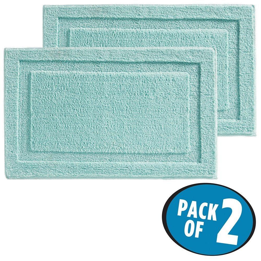 mDesign set da 2 tappeto antiscivolo? Tappetino bagno in microfibra, ideale anche come tappeto cucina ? Colore: menta MetroDecor