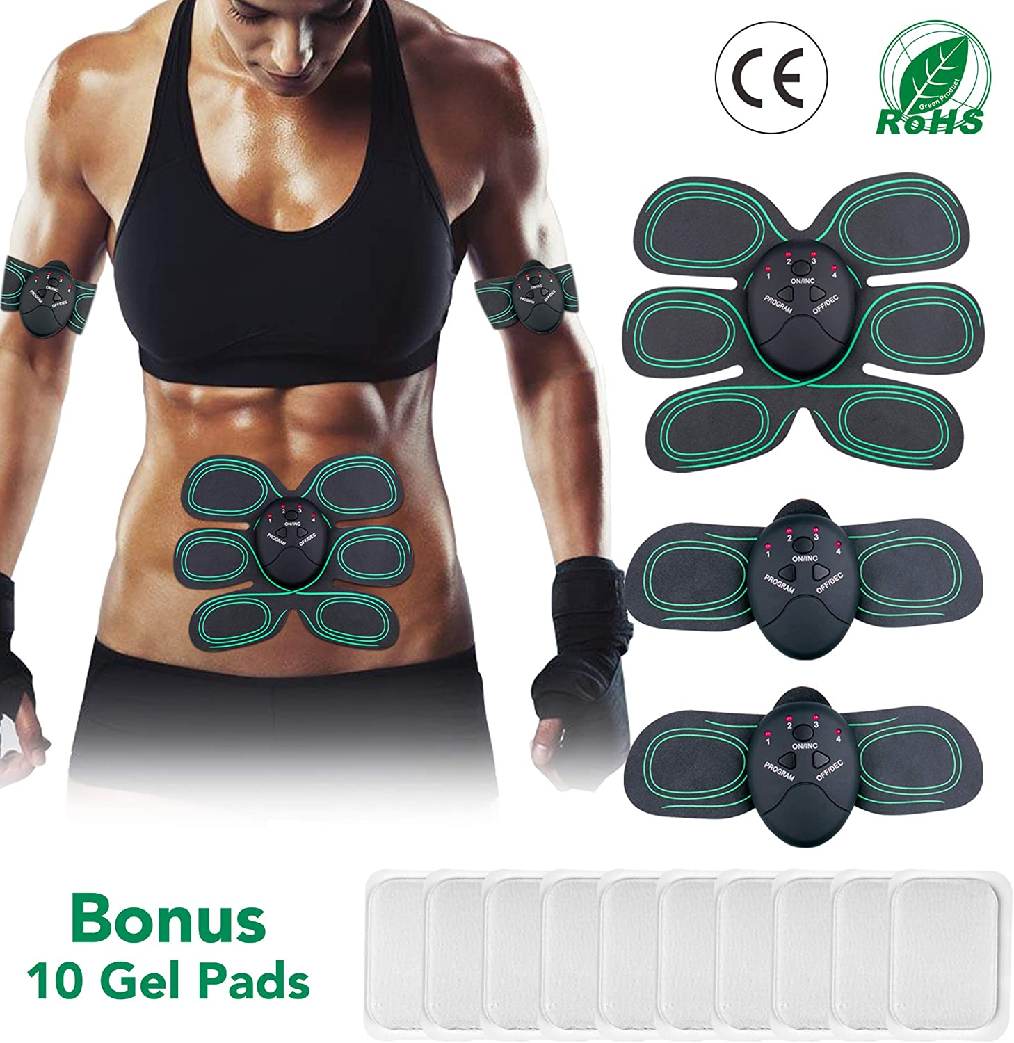 Inpher Abs Trainer Gym Workout and Home Fitness Equipment for Arm Thigh and Abdomen Extra 10pcs Electrode Gel Replacement