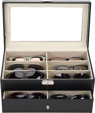 UROK Caja para Gafas con 12 Estuches Estuche de Organizadora de Colección de Joyas Organizador para Gafas de Sol Caja de Gafas de Sol para Mujeres y Hombres: Amazon.es: Joyería