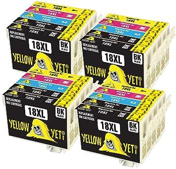 Yellow Yeti Reemplazo para Epson 18 18XL | 20 Cartuchos de tinta ...