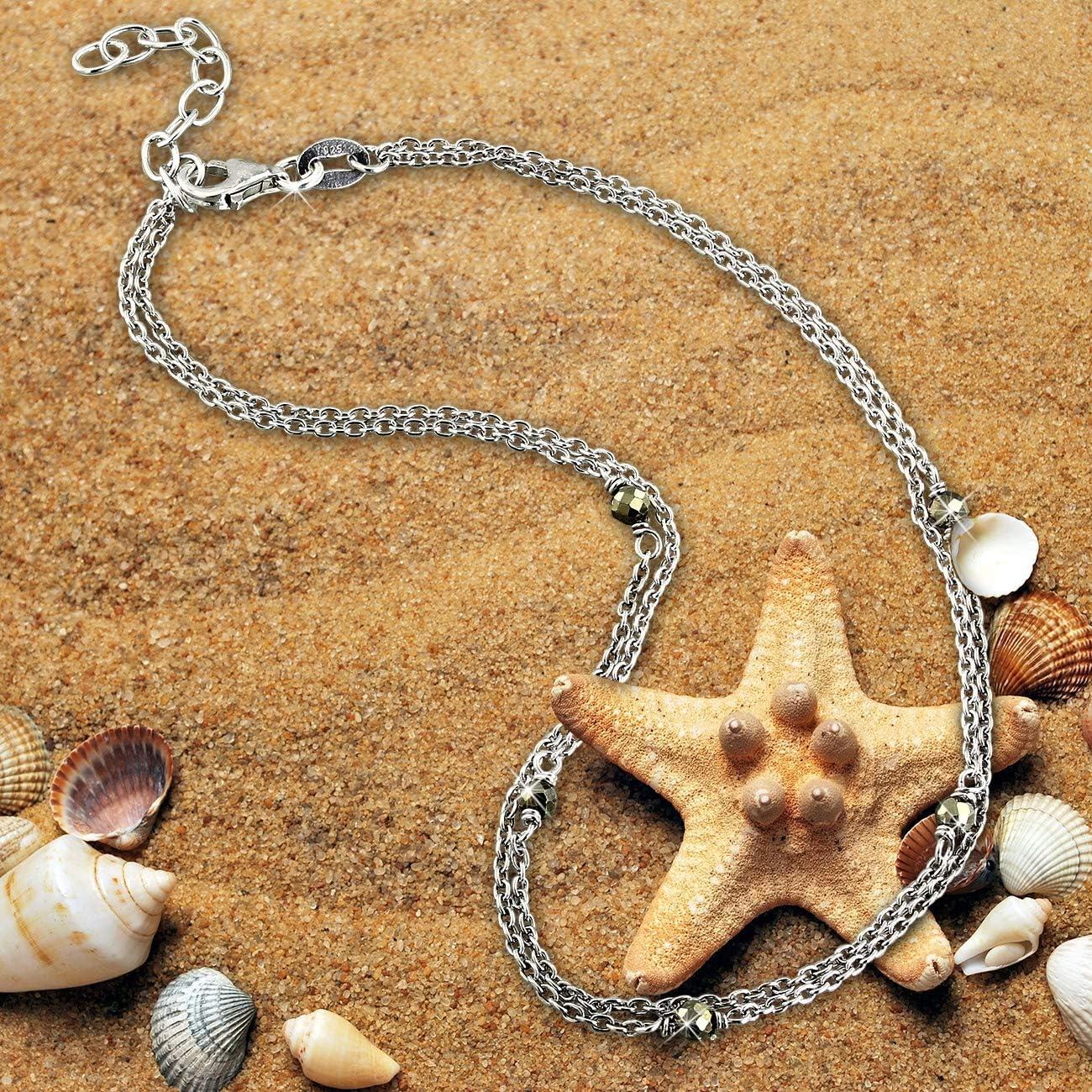 SilberDream SDF5005K Pyrit Cha/îne de cheville pour femme en argent 925 25 cm