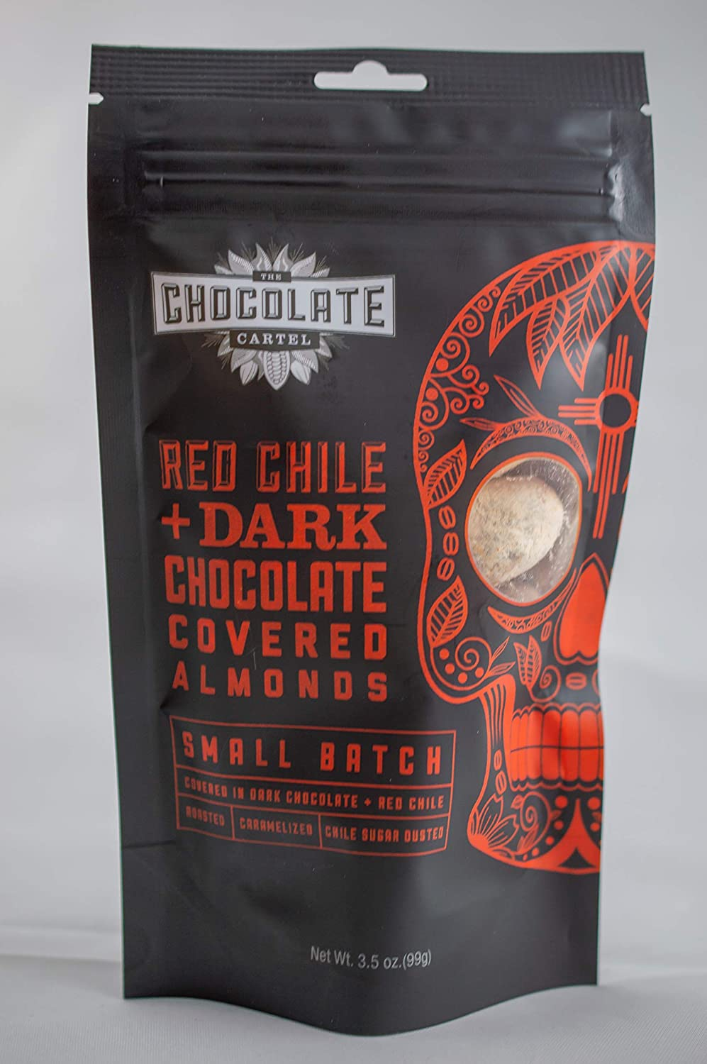 Chocolate Cartel, Red Chile Dark Chocolate Covered Almonds 3.5 Ounce Made in Small Batches