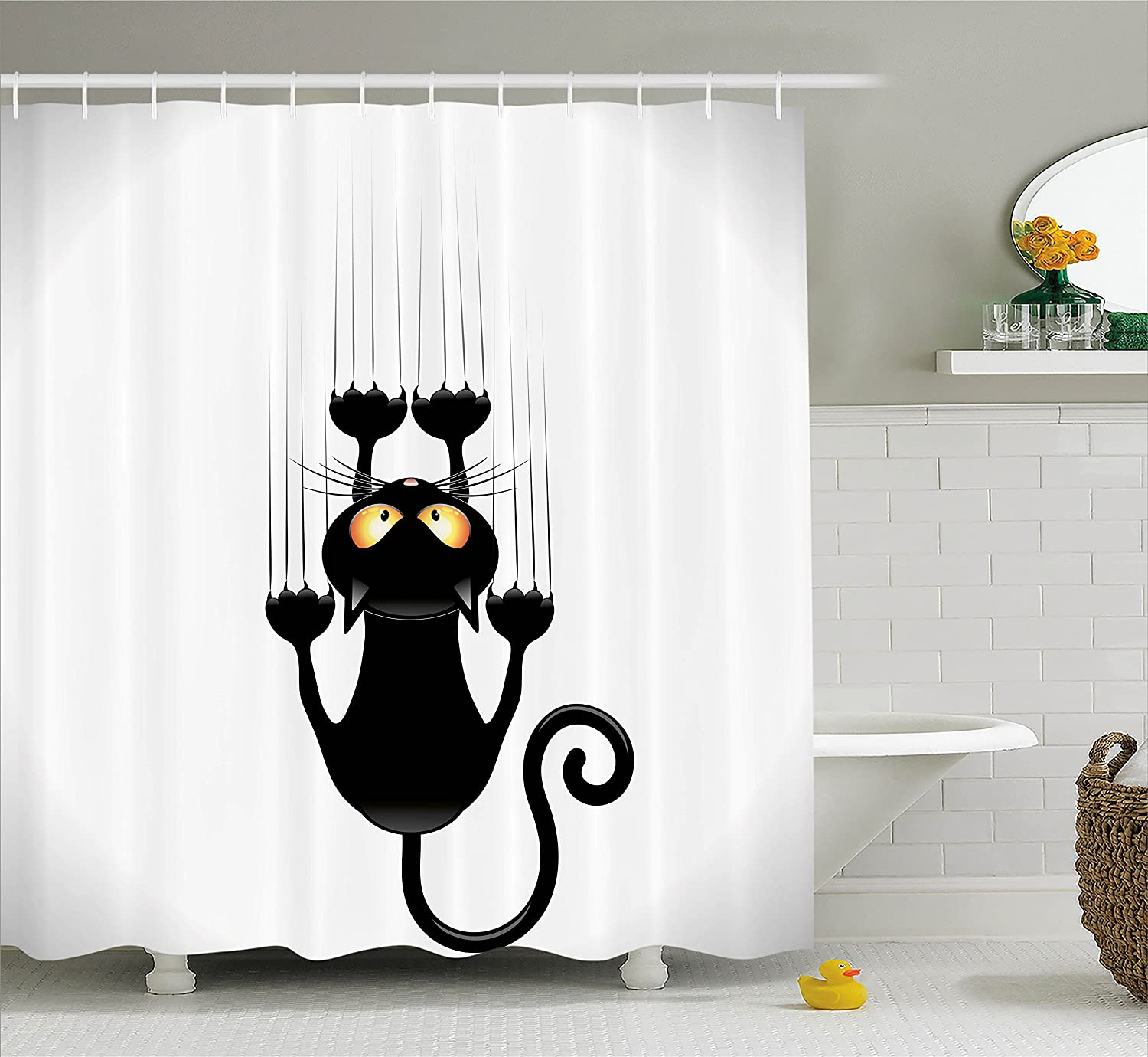 Ambesonne Funny Decor Collection, Naughty Cat Scratching the Wall with His Paws Grumpy Feline Humorous Kitten Graphic Work, Polyester Fabric Bathroom Shower Curtain Set with Hooks, Black White