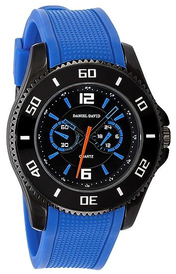 Daniel David - Elegante Reloj de Pulsera para Hombre con Correa de Silicona Azul y Bisel y cronógrafo: Amazon.es: Relojes