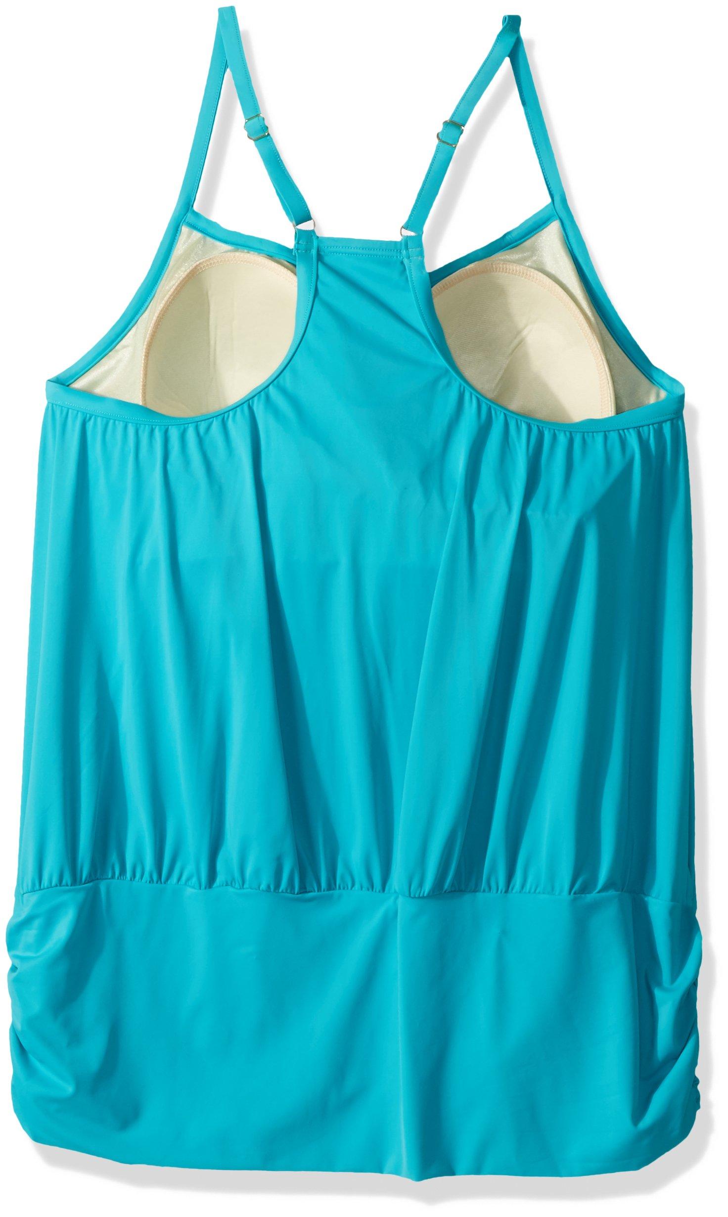 Fit 4 U Women's Plus Size Luxury Solids Fit 4 Ur Blouson Tankini Racer Back, Peppermint, 20W by Fit 4 U (Image #2)
