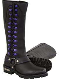"""Milwaukee Leather Women's Leather Harness Boots with Purple Accent Loops (Black/Purple, Size 6/14"""")"""