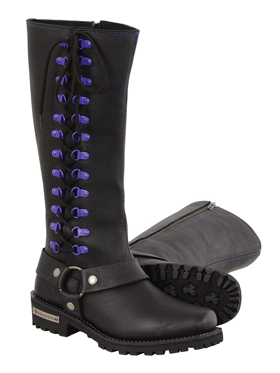 Milwaukee Leather Women's Leather Harness Boots with Purple Accent Loops (Black/Purple, Size 7.5/14') Size 7.5/14) MBL9366-BKPUR-7.5