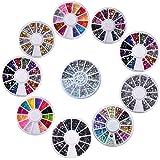 Biutee 10 Wheels nail art decor accessories Nail Rhinestones Premium Manicure Nail Art Decorations Total of 15000 Gems Nail Tools