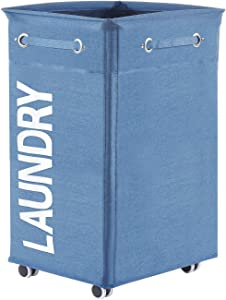 Haundry Collapsible Laundry Hamper with Wheels, Waterproof Large Rolling Clothes Hamper Basket for Dirty Clothes Storage Bin