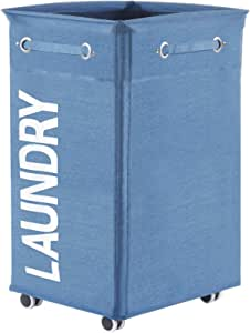 Haundry 86L X-Large Collapsible Laundry Hamper with Wheels, Waterproof Rolling Clothes Hamper Basket for Dirty Clothes Storage Bin