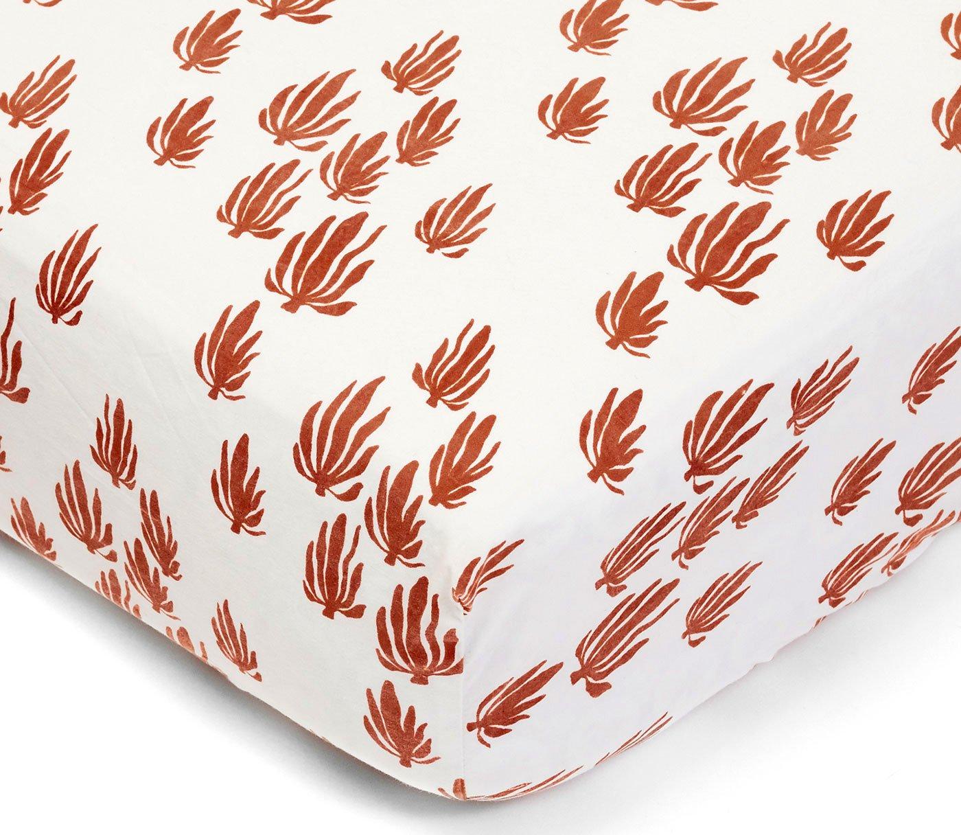 Lewis Organic Cotton Fitted Crib Sheet Seaweed Print 100% Organic Cotton Percale, Rust