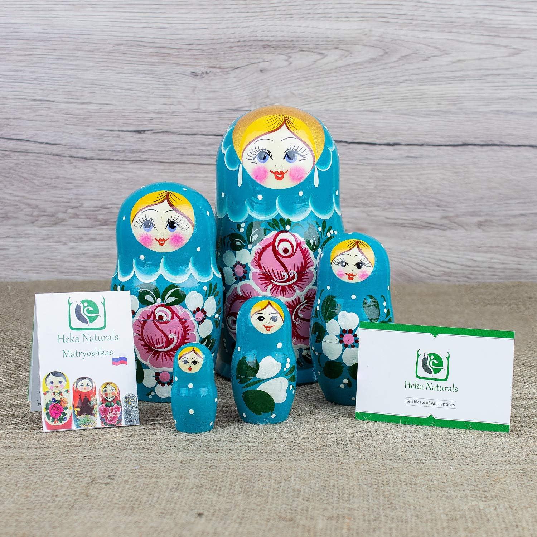 Traditional Matryoshka Biryuzovaya Style 5 Piece Turquoise with Pink Flowers Design Heka Naturals Russian Nesting Dolls 7 inches 5 Wooden Dolls Hand Made in Russia Biryuzovaya