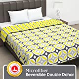 Divine Casa Twilight Abstract Microfiber All Weather Double Dohar -Yellow and Grey