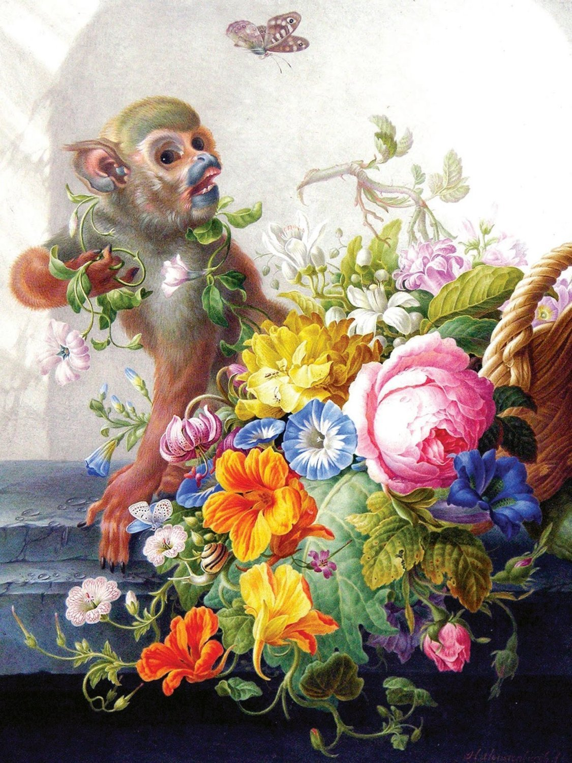 Monkey and a basket of flowers tile mural kitchen wall for Mural of flowers