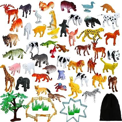 Amazon Com Aneco 82 Pieces Animals Figures Mini Jungle Animals Toys