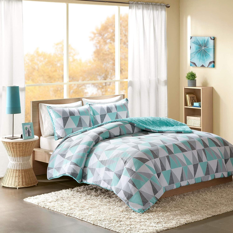 Intelligent Design Ellie Comforter Set Full/Queen Size - Aqua, Grey, Geometric Triangle – 3 Piece Bed Sets – Ultra Soft Microfiber Teen Bedding for Girls Bedroom