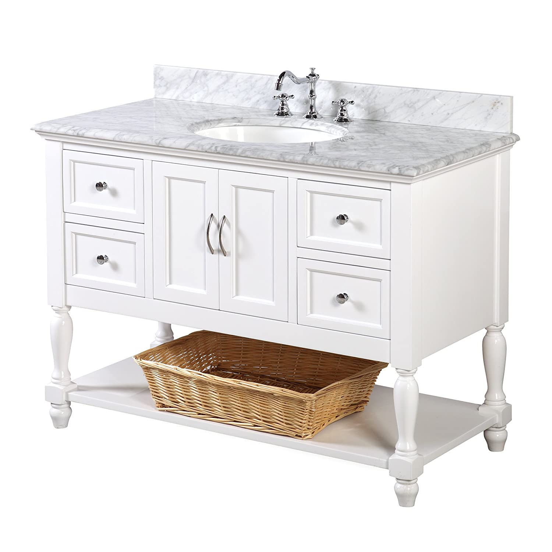 beverly 48 inch bathroom vanity carrara white includes